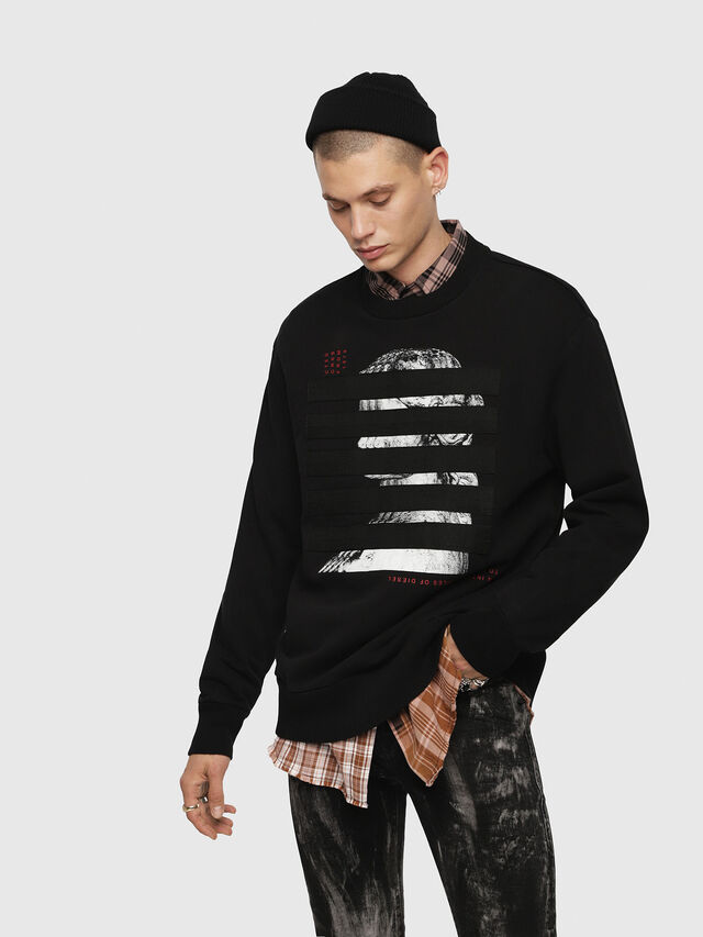 Diesel - S-BAY-YB, Black - Sweatshirts - Image 1