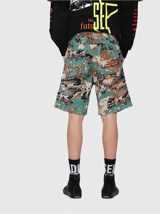 Diesel - P-FRANK-SHO-CAMOU, Green Camouflage - Shorts - Image 2