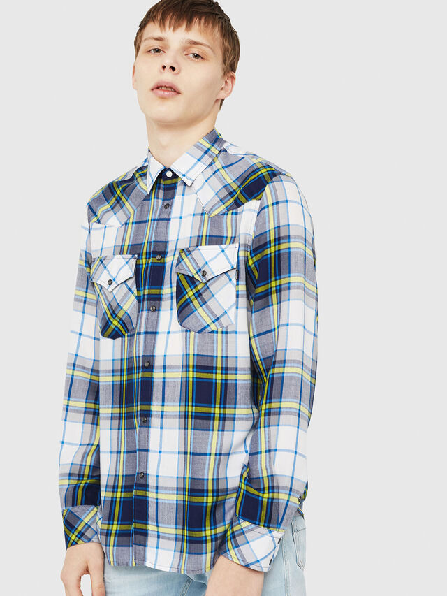 Diesel - S-EAST-LONG-F, White/Blue - Shirts - Image 1
