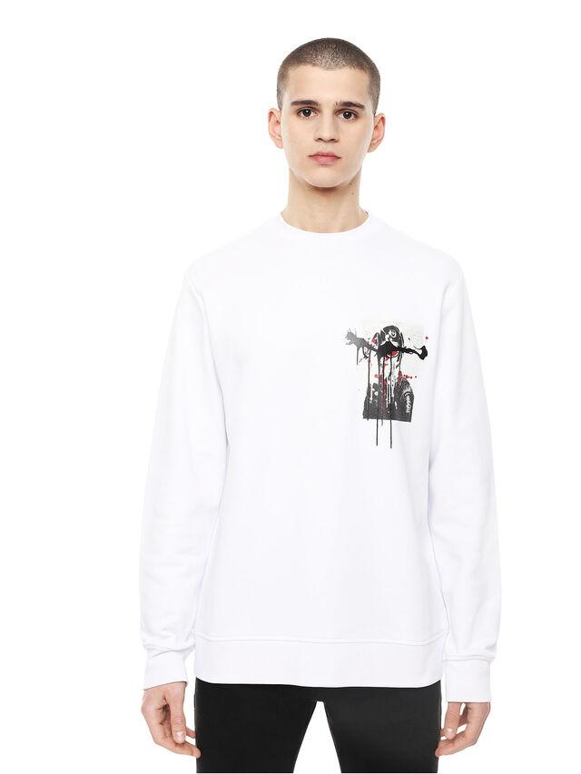 Diesel - SNEILB-DRIPPINGSOLDI, White - Sweatshirts - Image 1