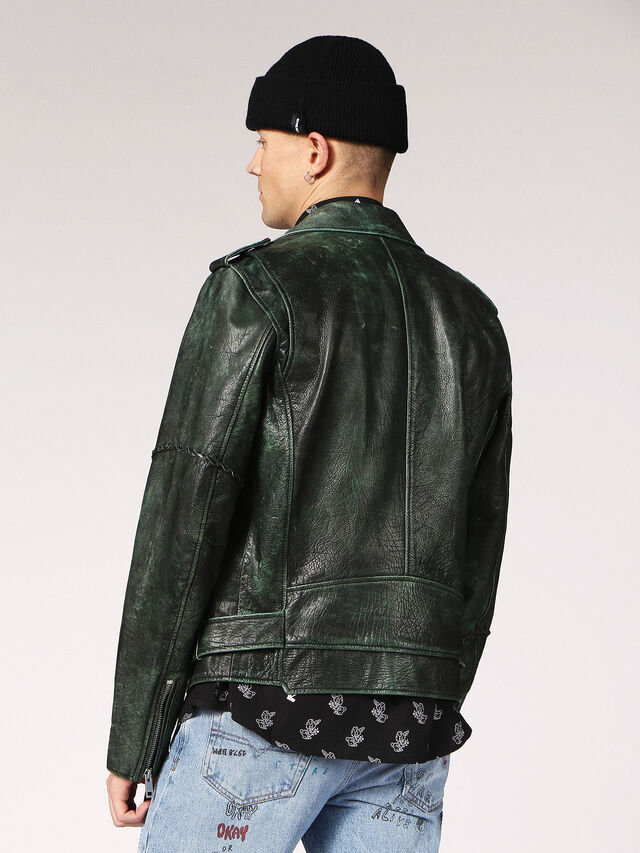 Diesel - L-GRIME, Dark Green - Leather jackets - Image 2