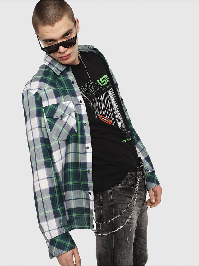 Diesel - S-EAST-LONG-F, Green/Grey - Shirts - Image 3