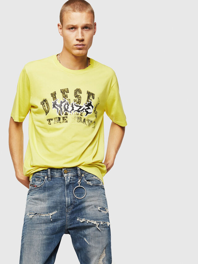 Diesel - T-JUST-B25, Yellow - T-Shirts - Image 4