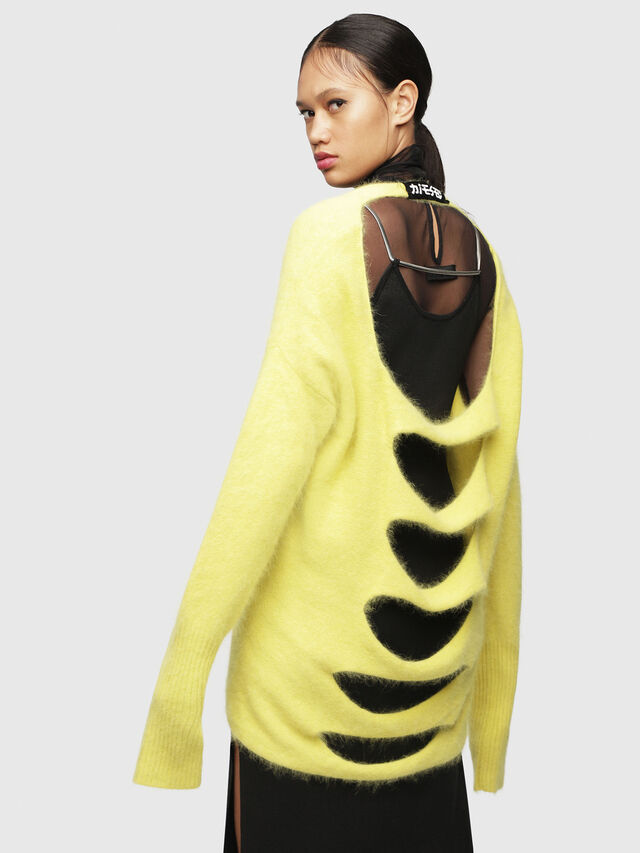 Diesel - M-GIORGIA, Yellow Fluo - Sweaters - Image 2