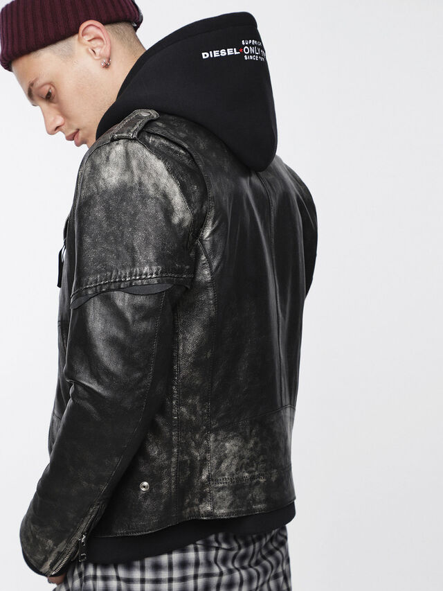 Diesel - L-INGRAN, Black Leather - Leather jackets - Image 4