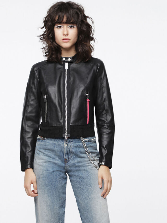 Diesel - L-LYSSA-C, Black Leather - Leather jackets - Image 1