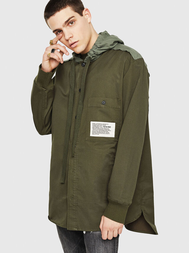 Diesel - S-EIKU, Military Green - Shirts - Image 1
