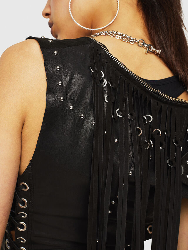 Diesel - L-SKYLA, Black Leather - Leather jackets - Image 3