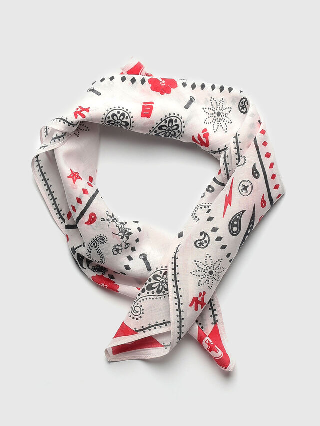 Diesel - S-BANDY, White/Red - Scarves - Image 1