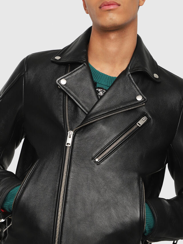 Diesel - L-KRAMPIS, Black Leather - Leather jackets - Image 3