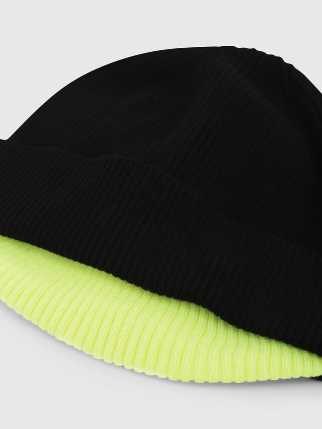 Diesel - K-DOBLY, Black/Yellow - Knit caps - Image 3