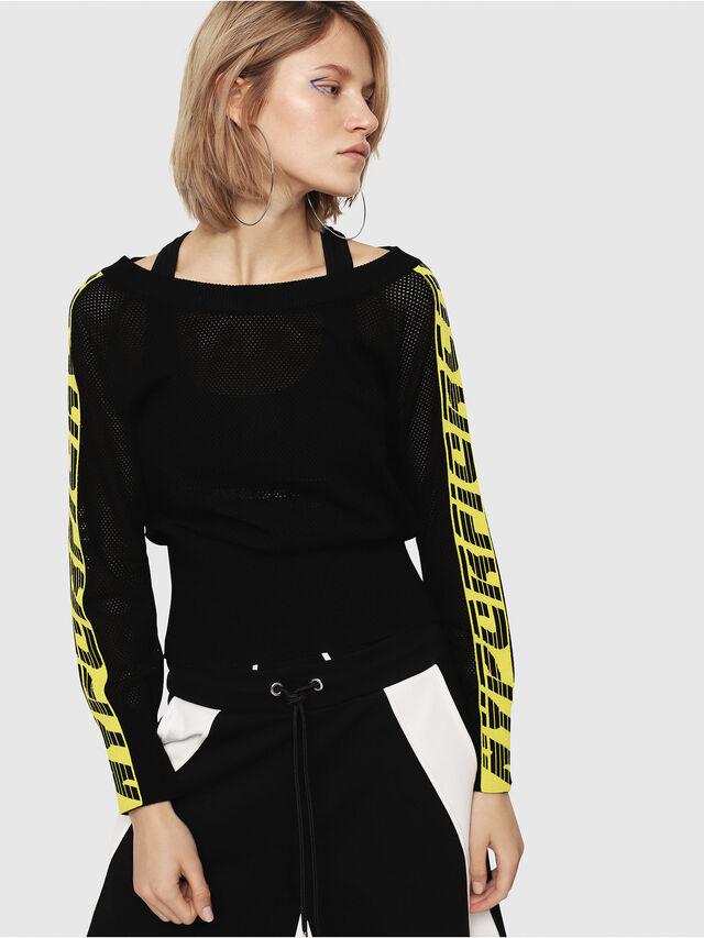 Diesel - M-NANCY, Black/Yellow - Sweaters - Image 1