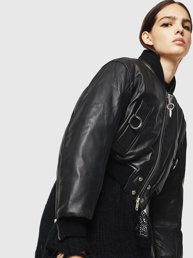 Diesel - L-MANUA, Black - Leather jackets - Image 8