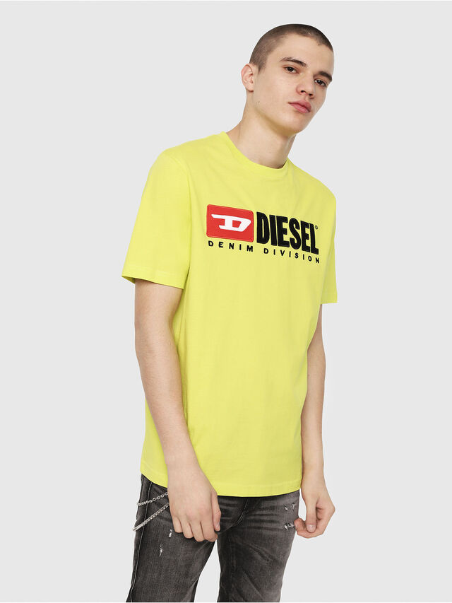 Diesel - T-JUST-DIVISION, Yellow Fluo - T-Shirts - Image 1