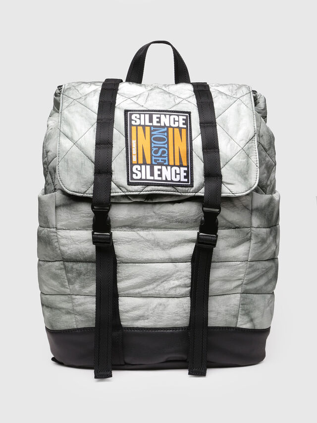 Diesel - F-HEYODA BACK L, Silver - Backpacks - Image 1