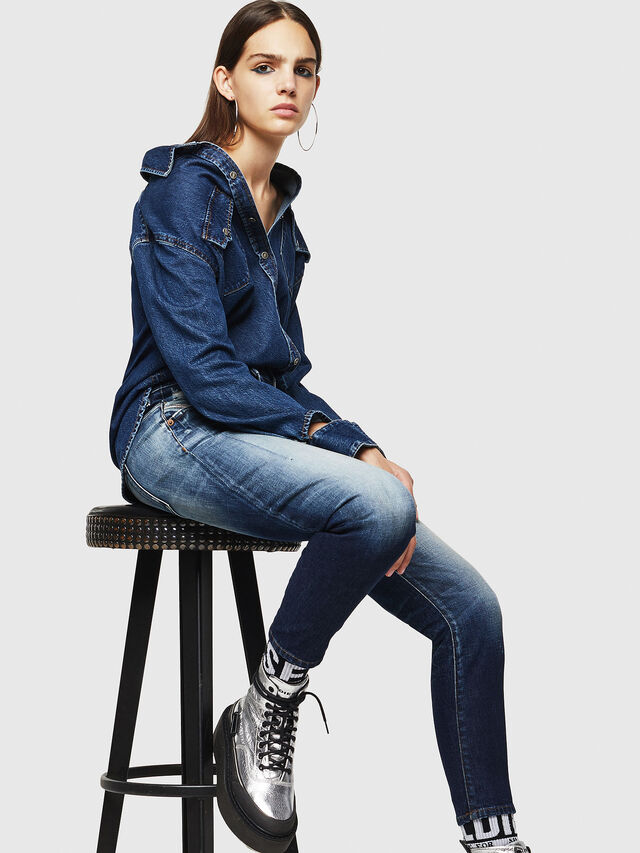 Diesel - Fayza 0092I, Medium Blue - Jeans - Image 4
