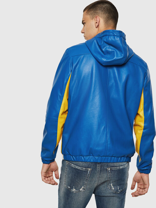 Diesel - L-CARR, Blue - Leather jackets - Image 2