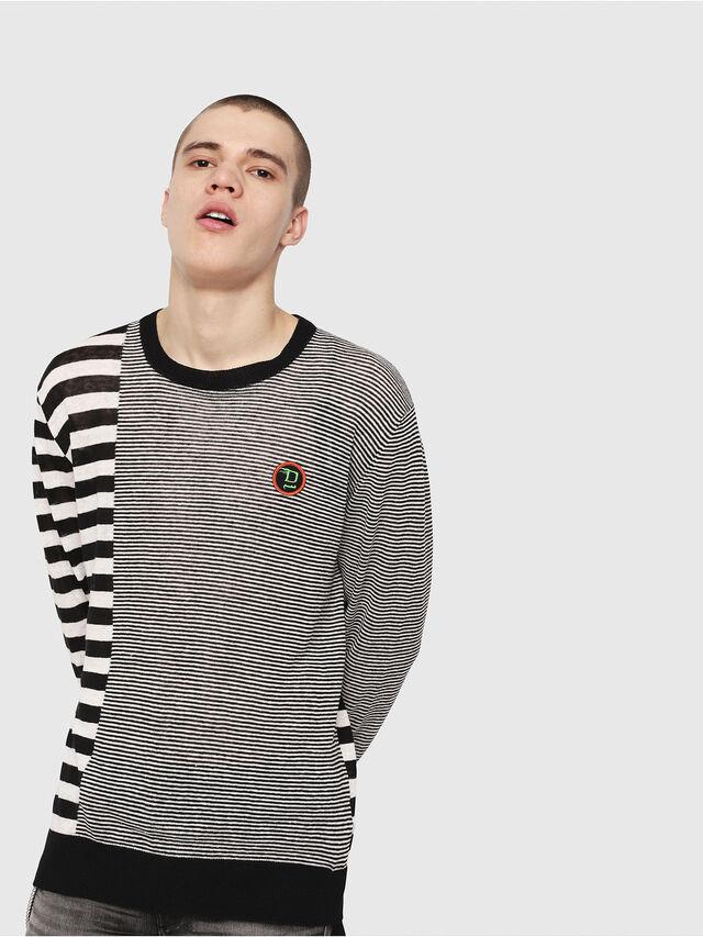 Diesel - K-MICROXX, Black/White - Sweaters - Image 1