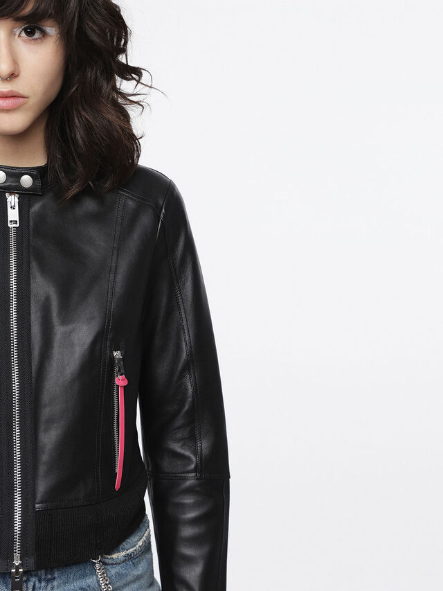 Diesel - L-LYSSA-C, Black Leather - Leather jackets - Image 2