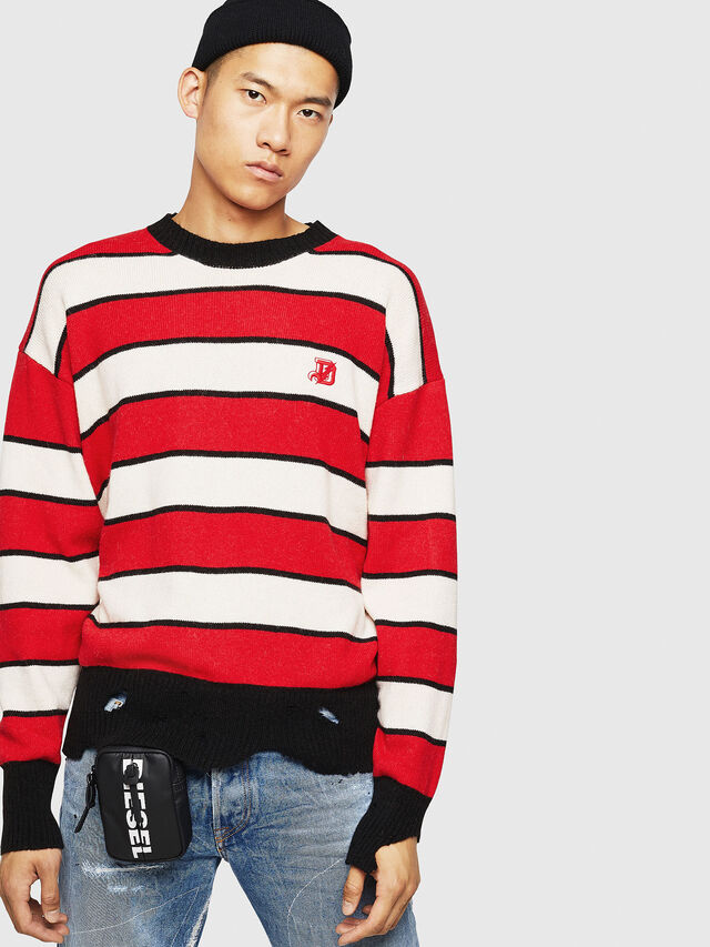 Diesel - K-LOVERY, Red/White - Sweaters - Image 1