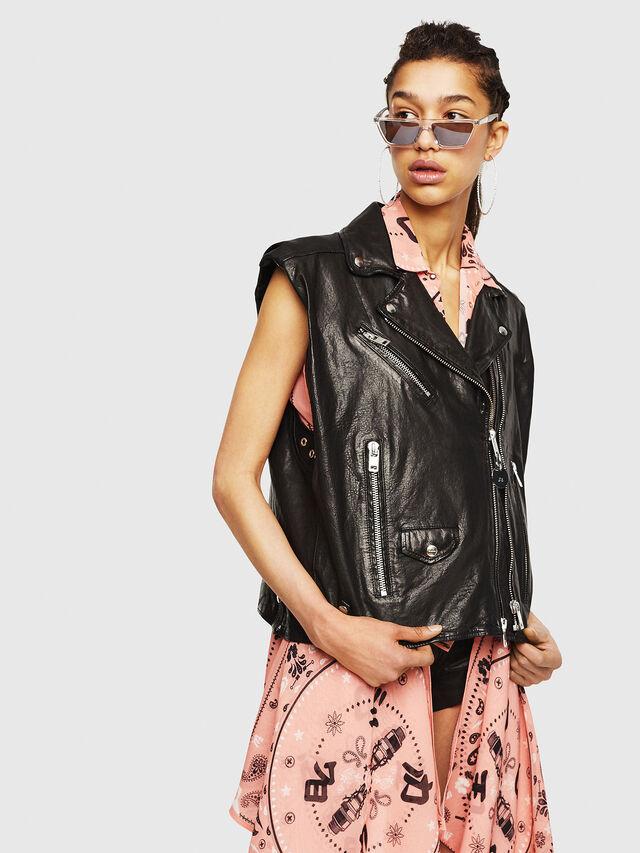 Diesel - L-DROPPET, Black - Leather jackets - Image 1