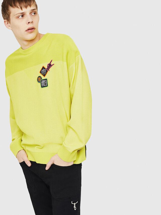 Diesel - K-TREY, Yellow Fluo - Sweaters - Image 4