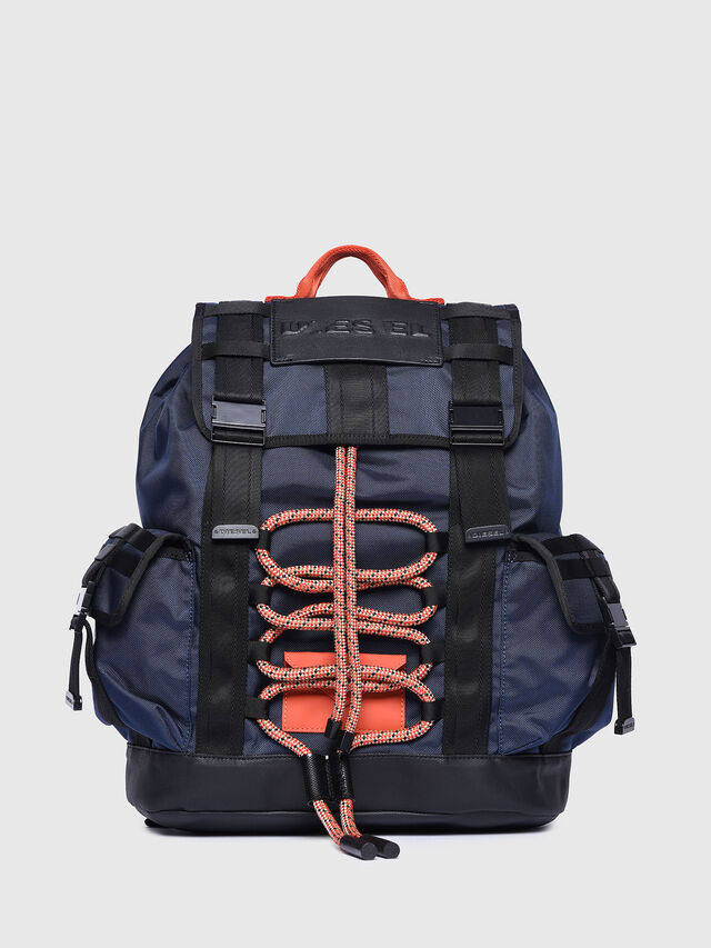 Diesel - M-CAGE BACK, Blue/Orange - Backpacks - Image 1