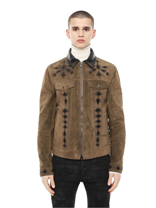 Diesel - LYRICH, Green/Black - Leather jackets - Image 1