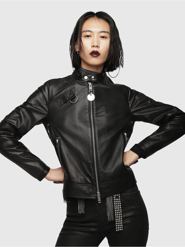 Diesel - L-SUZ, Black Leather - Leather jackets - Image 1
