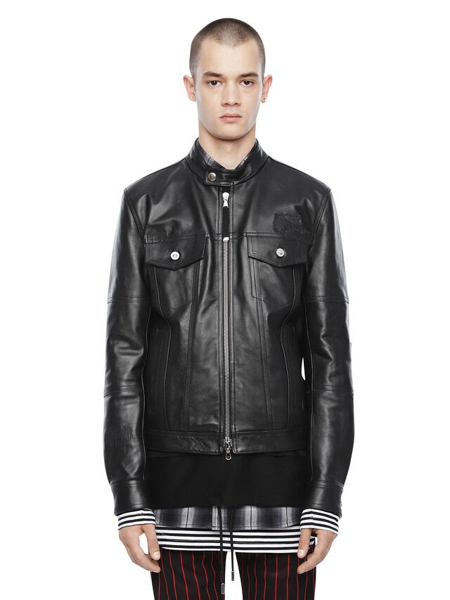 Diesel - LANPATCH, Black - Leather jackets - Image 1