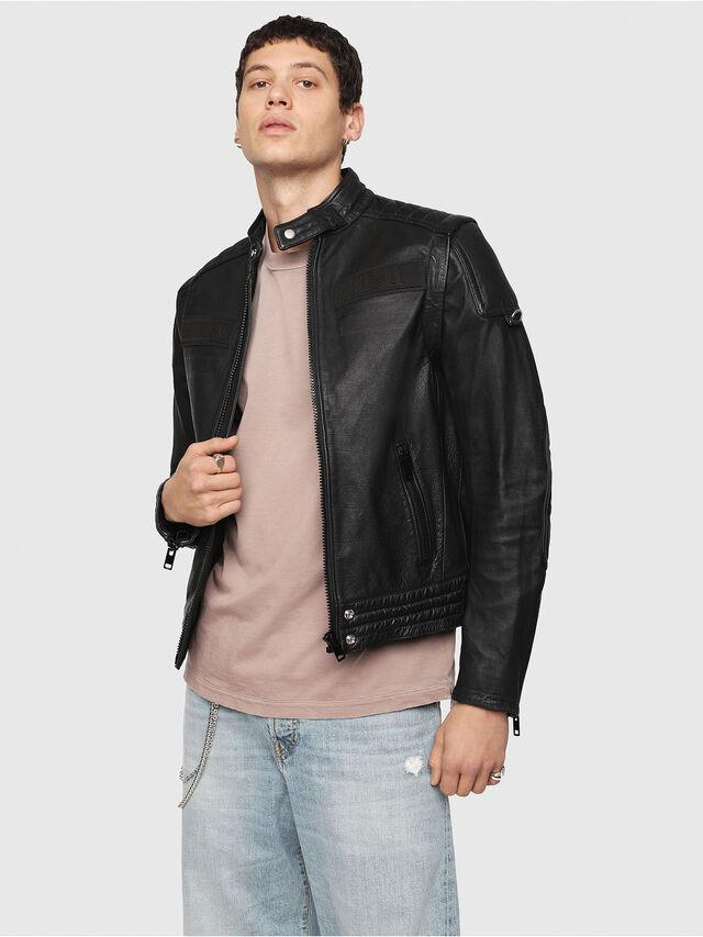 Diesel - L-YUJA, Black Leather - Leather jackets - Image 1