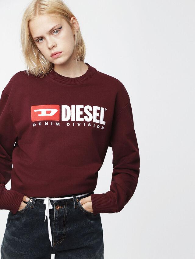 Diesel - F-CREW-DIVISION-FL, Burgundy - Sweatshirts - Image 1