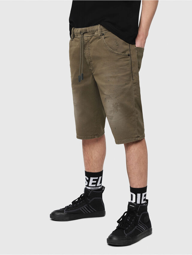 Diesel - D-KROOSHORT JOGGJEANS, Military Green - Shorts - Image 1