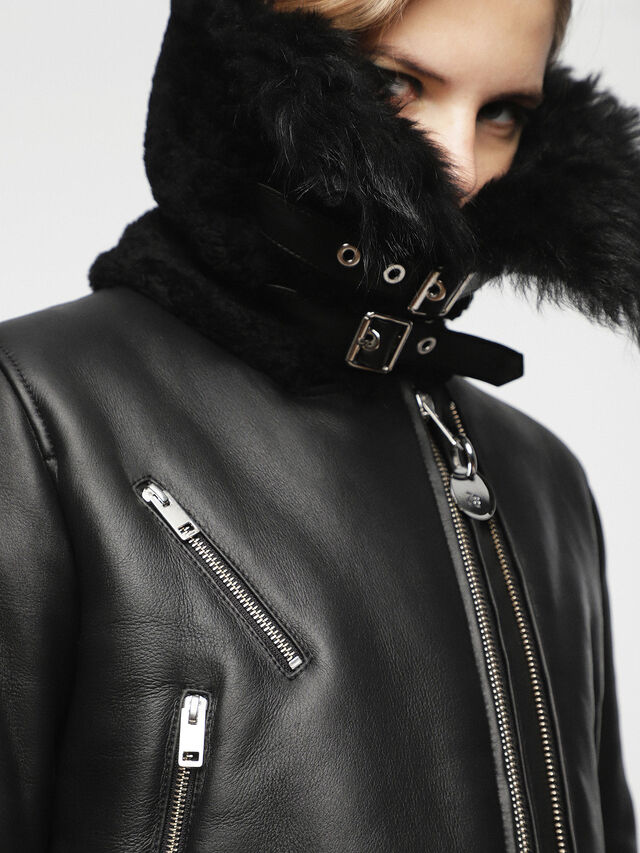Diesel - L-TIA, Black Leather - Leather jackets - Image 6