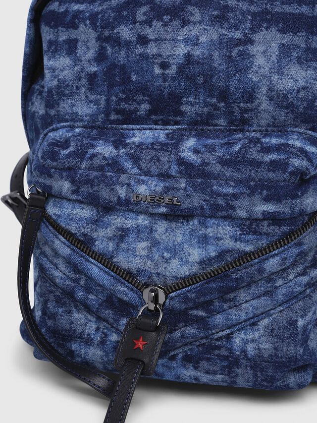 Diesel - LE-ZIPPER BACKPACK, Blue/White - Backpacks - Image 4