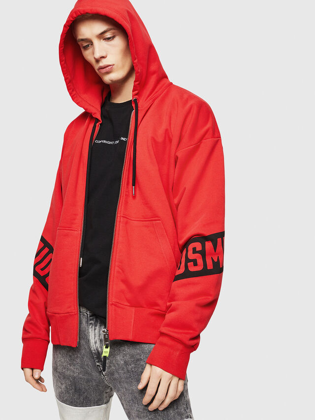 Diesel - S-ALBY-ZIP-A1, Fire Red - Sweatshirts - Image 1