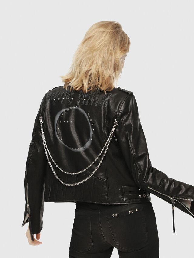 Diesel - SE-LENE, Black Leather - Leather jackets - Image 2