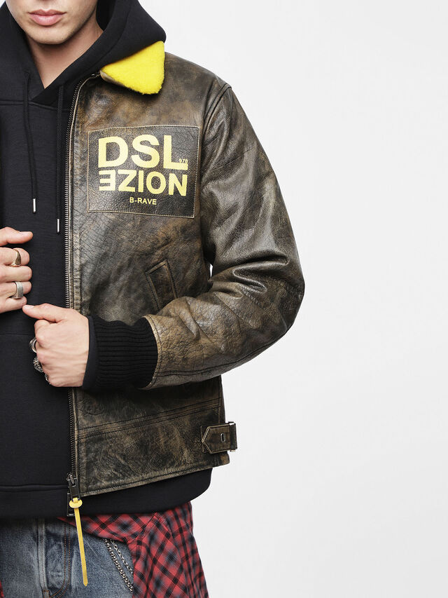 Diesel - L-BOWDRE-PAINT, Brown Leather - Leather jackets - Image 3