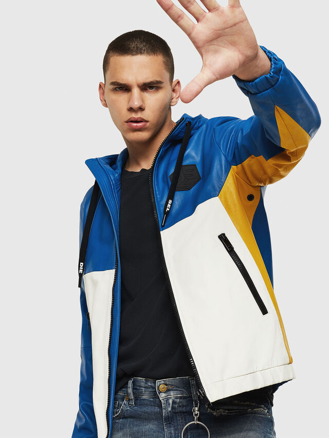 Diesel - L-CARR, Blue - Leather jackets - Image 4