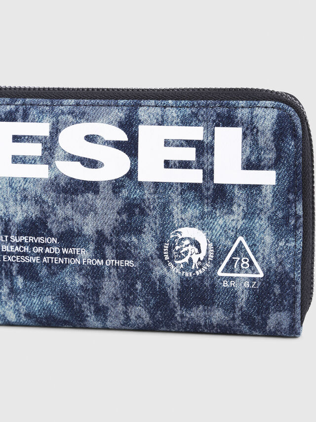 Diesel - 24 ZIP, Blue/White - Zip-Round Wallets - Image 4