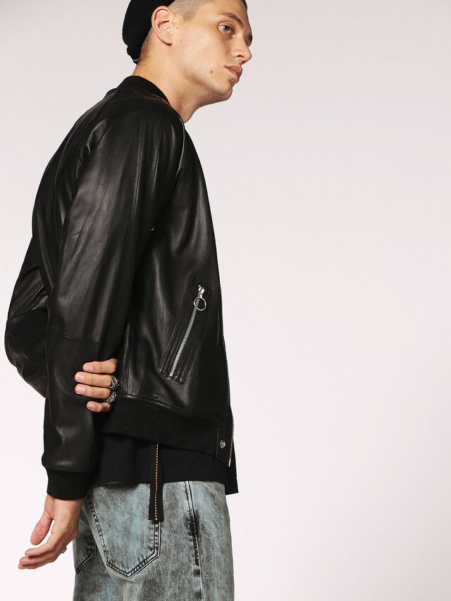 Diesel - L-PINS, Black Leather - Leather jackets - Image 3