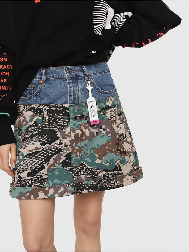 Diesel - O-CALI-A, Green Camouflage - Skirts - Image 3