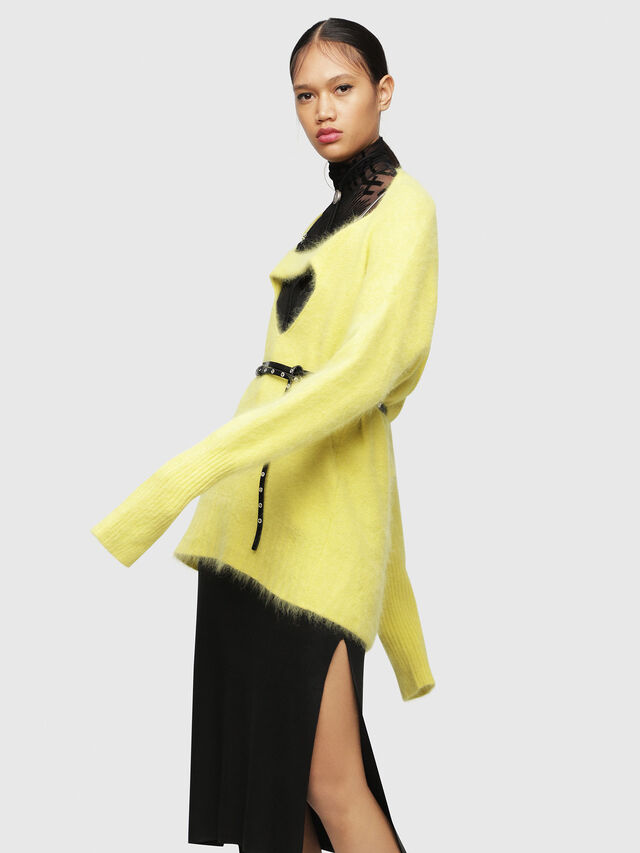Diesel - M-GIORGIA, Yellow Fluo - Sweaters - Image 4