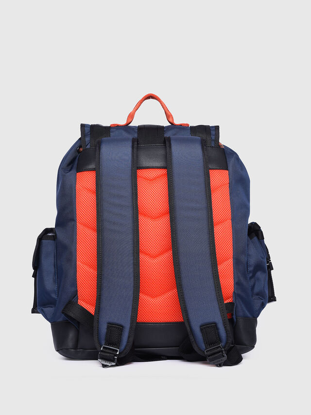 Diesel - M-CAGE BACK, Blue/Orange - Backpacks - Image 2