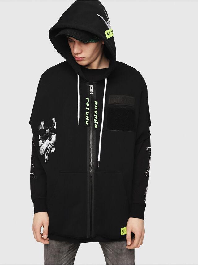 Diesel - S-MAKI-ZIP, Black/Green - Sweatshirts - Image 1