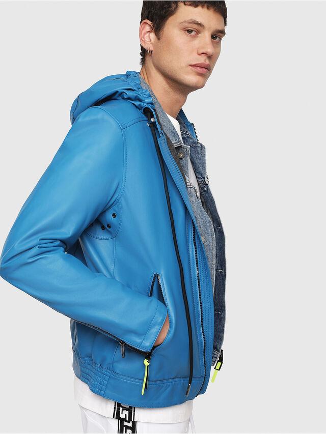 Diesel - L-RESTIL, Blue Marine - Leather jackets - Image 3