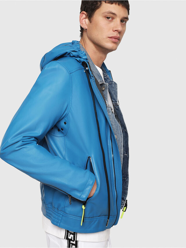 Diesel - L-RESTIL, Blue Marine - Leather jackets - Image 3