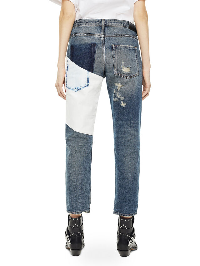 f91ddbb04b TYPE-1820 Women  Straight jeans with bleached patch
