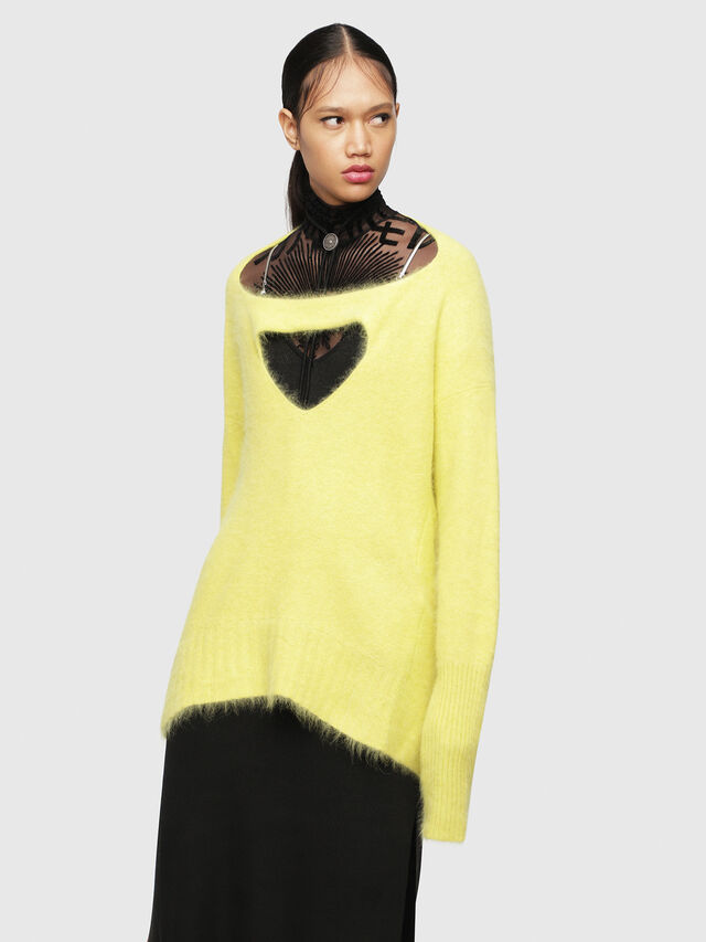 Diesel - M-GIORGIA, Yellow Fluo - Sweaters - Image 1