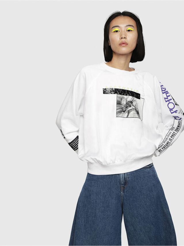 Diesel - F-JUSTY, White - Sweatshirts - Image 1